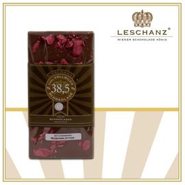 Chocolate bar with candied rose leaves 41% Leschanz