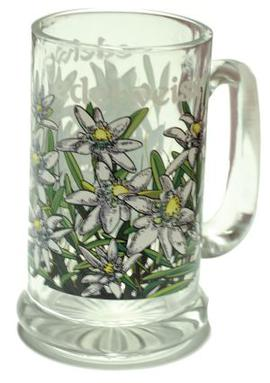 Glass Edelweiss with Handle