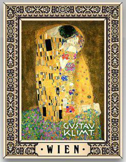 Wooden Fridge Magnet Gustav Klimt Kiss