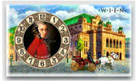 Wooden wall clock Mozart Vienna
