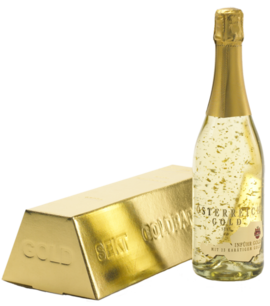 Sparkling Wine Gold with Gold Bar Carton Inführ 0,75L